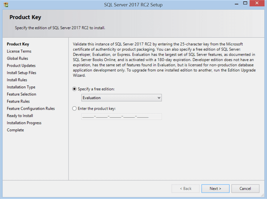 SQL Server 2017 RC2 Setup - Product Key - Description: SQL Server 2017 RC2 Setup