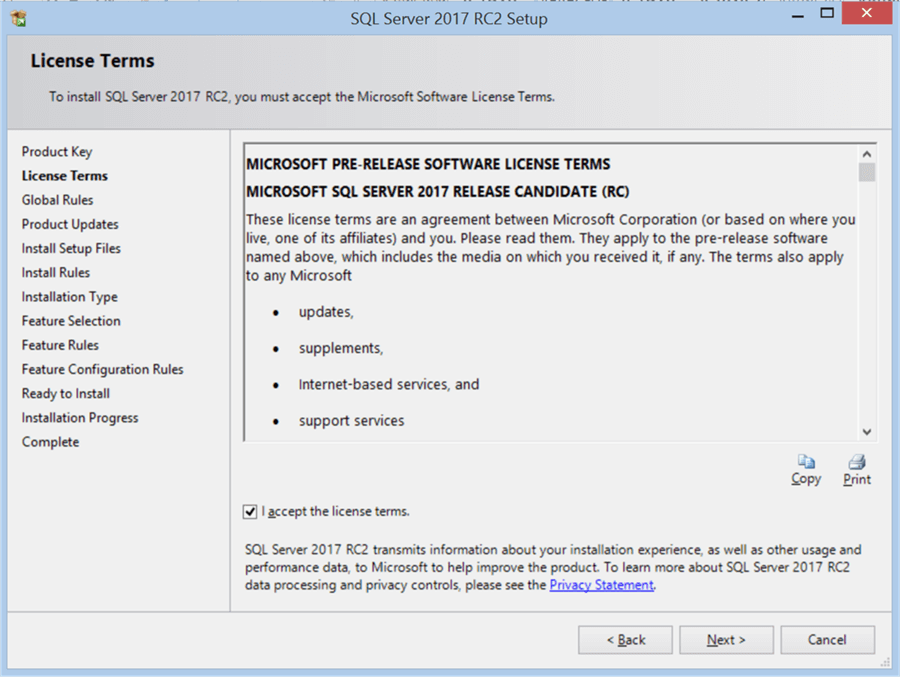 SQL Server 2017 RC2 Setup - License Terms - Description: SQL Server 2017 RC2 Setup