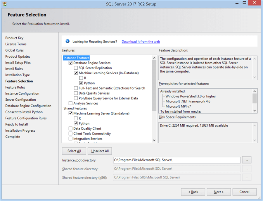 SQL Server 2017 RC2 Setup - Feature Selection - Description: SQL Server 2017 RC2 Setup