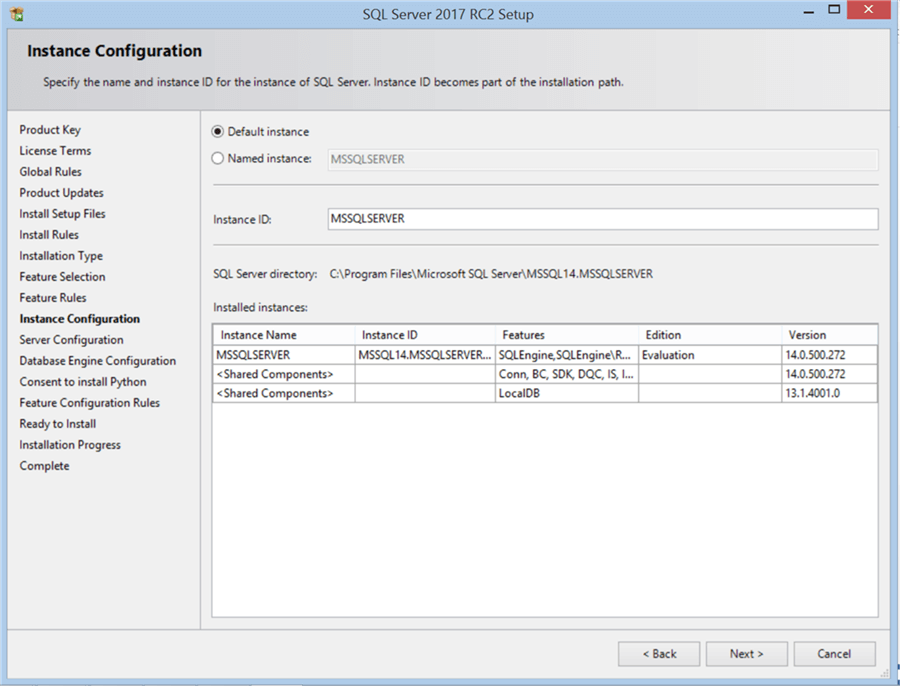 SQL Server 2017 RC2 Setup - Instance Configuration - Description: SQL Server 2017 RC2 Setup
