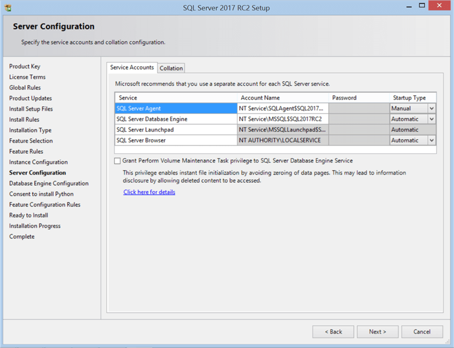 SQL Server 2017 RC2 Setup - Server Configuration - Description: SQL Server 2017 RC2 Setup