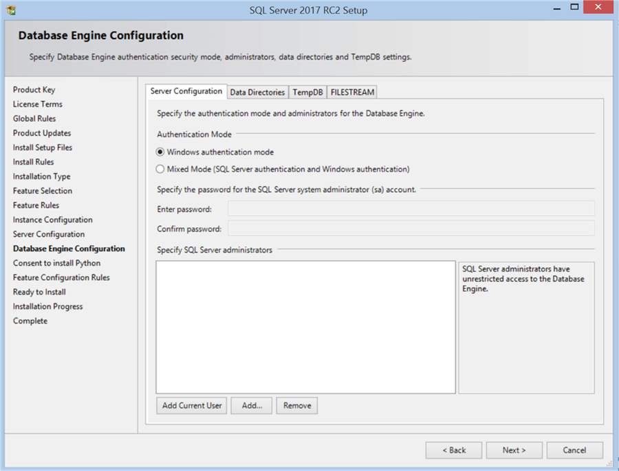 SQL Server 2017 RC2 Setup - Database Engine Configuration - Description: SQL Server 2017 RC2 Setup