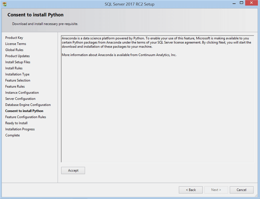 SQL Server 2017 RC2 Setup - Consent to install Python - Description: SQL Server 2017 RC2 Setup