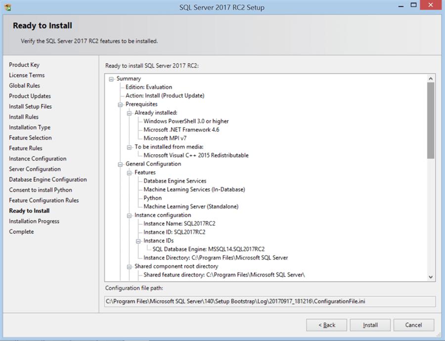 SQL Server 2017 RC2 Setup - Ready to Install - Description: SQL Server 2017 RC2 Setup