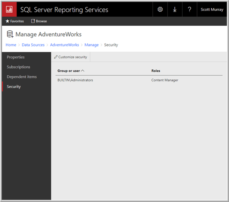 SQL Server Reporting Services SSRS 2017 Data Sources