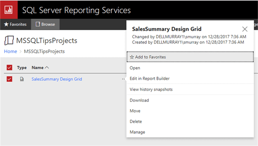 manage reports - Description: manage reports in