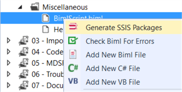 generate ssis packages