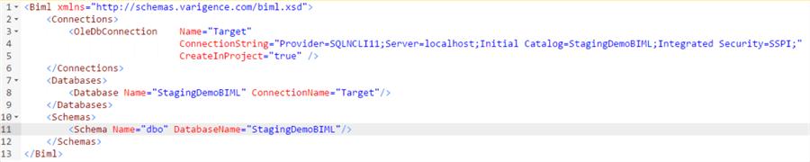 在Biml中创建数据库和模式