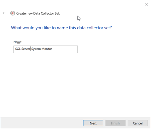 create new data collector set