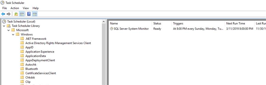 windows task scheduler showing perfmon scheduled
