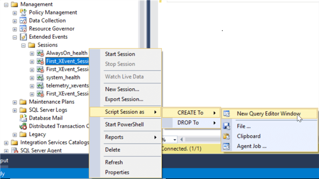 create extended events session with query