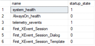 list extended events sessions