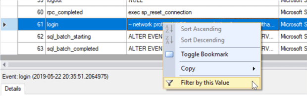 extended events captured data using xevent profiler