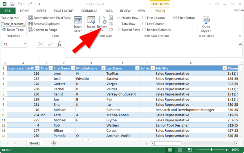 query sql server with excel