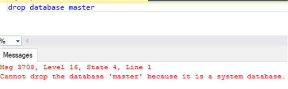 This screenshot shows a query window attempting to drop the master database and receiving an error saying  that it cannot be dropped.