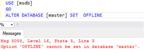 This screenshot shows a query window attempting to take the master database offline and receiving an error saying  that it cannot be taken offline.