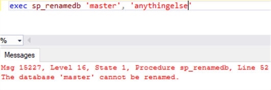 sql server master database rename error