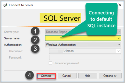 Connecting to Default Instance