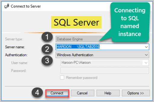 Connecting to Named SQL Instance