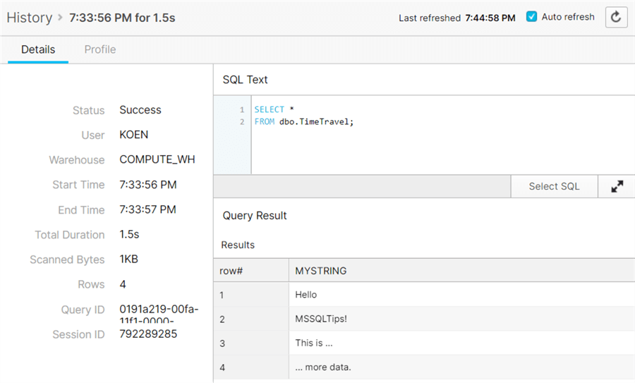 query history detail