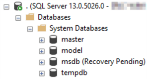 This screenshot shows that the database MSDB is listed as Recovery Pending