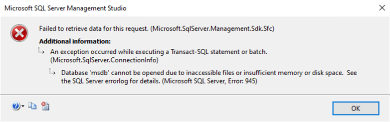 This screenshot shows the error database cannot due files inaccessible msdb