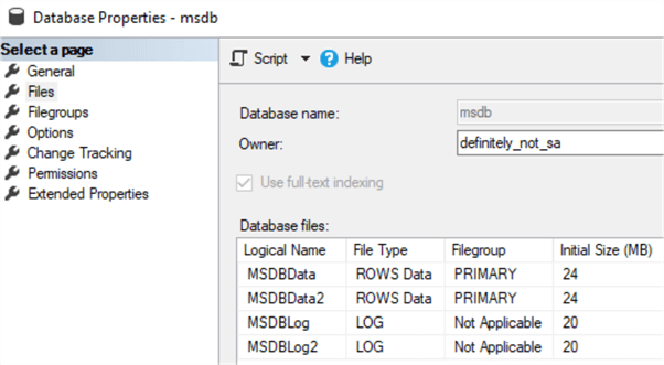 This screenshot shows a MSDB instance with 2 data files and 2 log files.